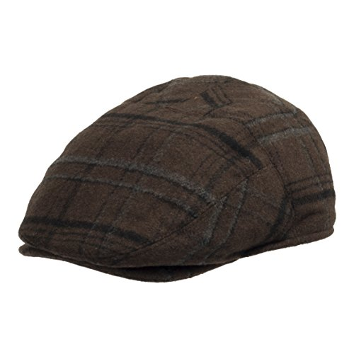 Tusco Wool Grey Plaid IVY Cap newsboy Hat With Fleece Ear Flaps Brown 7 1/8