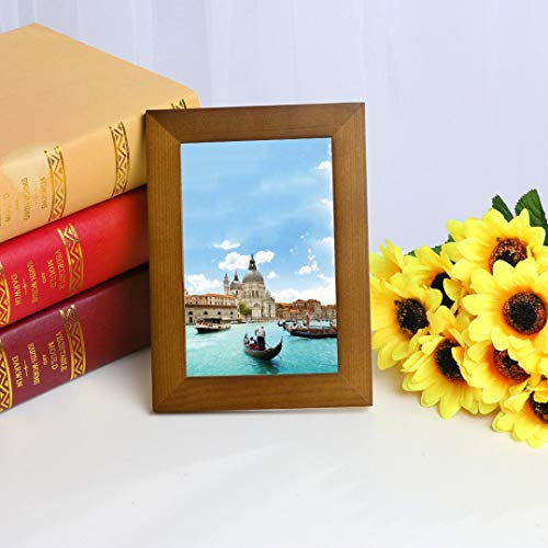 Highpot Wooden Picture Frame Wall Mounted and Tabletop Photo Frames Display Horizontally or Vertically Home Decor (6x4.5In, Coffee)