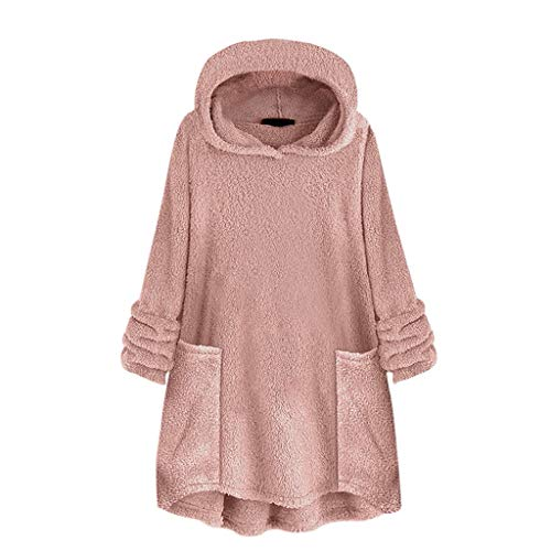 LOFVOSTE Women's Oversize Hooded Coat Solid Lightweight Pullover Warm Outerwear with Pockets(Pink,XXXXL)