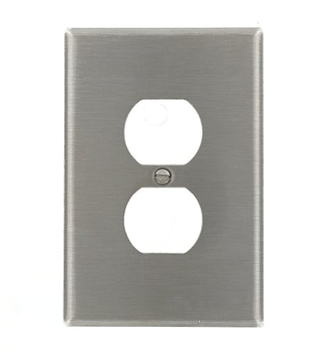 Leviton 84103-40 1-Gang Duplex Device Receptacle Wallplate, Oversized, Device Mount, Stainless Steel