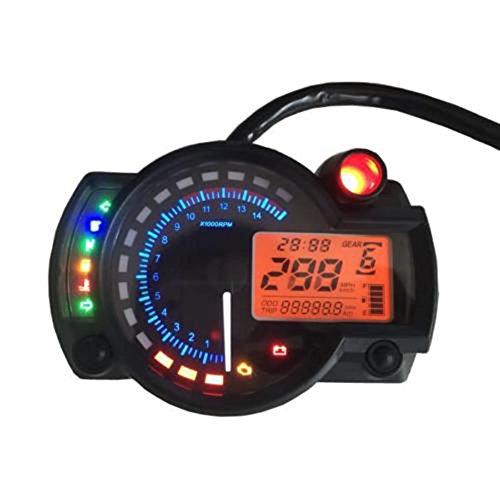 ConPush 299km/h Tachometer Geschwindigkeitsmesser Speedometer Einstellbarer Digitaler Motorrad LCD Instrument Universal Motorcycle Odometer