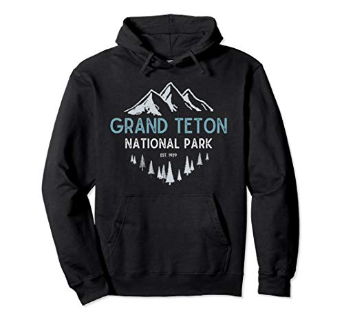 Grand Teton National Park Est 1929 Vintage National Park WY Pullover Hoodie (Grand National Sweater)