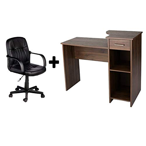 Student/Office Home Desk in Canyon Walnut + Leather Mid-Back Chair in Black - Bundle Set