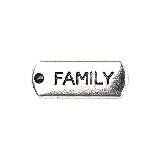 (20 Pcs Antique Silver Plated Inspirational Message Connector Charms Pendants for Crafting Jewelry Making Family)