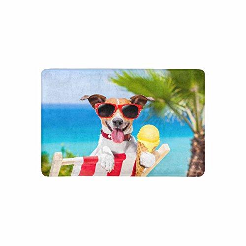 InterestPrint Funny Jack Russell Dog Eating Ice Cream on Summer Beach Doormat Non Slip Indoor/Outdoor Floor Mat Home Decor, Entrance Rug Rubber Backing 23.6