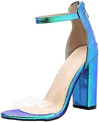 581ee2a455 Thick Round Head Fluorescent High Heels Sexy Women's Summer Fashion Buckle  Night Club Party Evening Sandals
