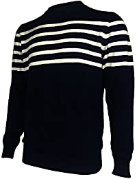 Men's Black And White Striped Sweater Wool Pullover