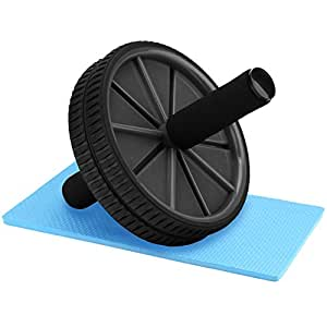 Reehut Ab Wheel Fitness Equipment Ab Roller Wheel for Core Exercise - Dual wheels and Foam Handles - Abdominal Workout - Black