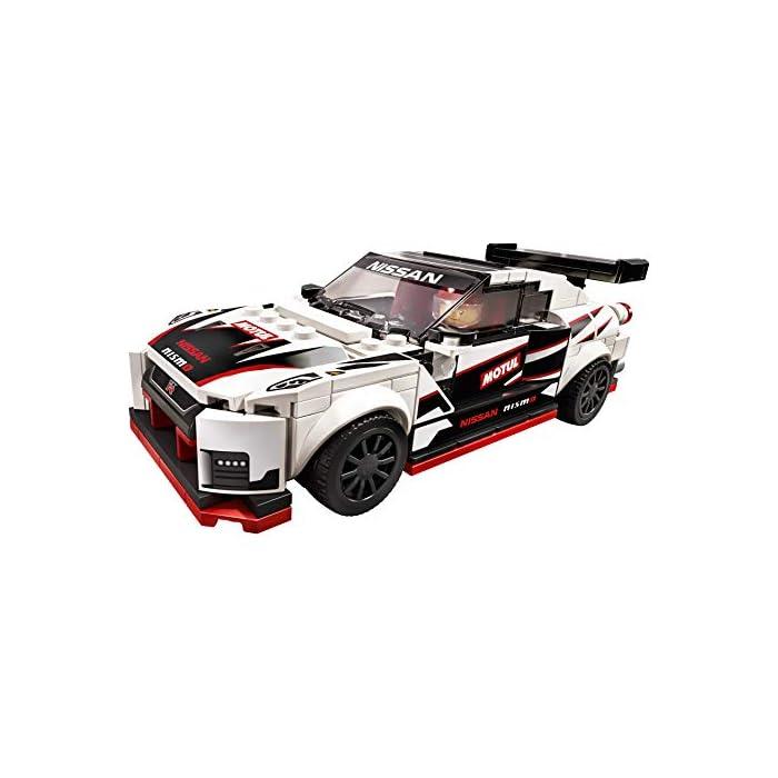 41BdhuRdnkL Una oportunidad única de poseer una réplica LEGO con detalles de gran realismo del legendario Nissan GT-R NISMO. Es el regalo perfecto para los apasionados de la construcción de juguetes, ¡y de conducirlos en veloces carreras! El Nissan GT-R NISMO en versión construible y 1 minifigura con mono de competición Nissan. Esta maqueta fascinará a niños y fans de los coches, y les abrirá las puertas tanto al juego independiente como a la posibilidad de organizar carreras con sus amigos. La miniversión del Nissan GT-R NISMO (novedad en enero de 2020) se puede construir y exponer, o usar para competir contra otros coches LEGO Speed Champions.