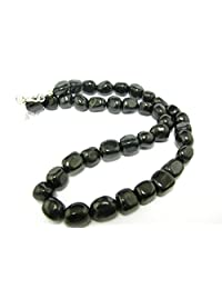 """Shungite Necklace Beads From Russia - 10mm Freeform Beads - 19"""""""
