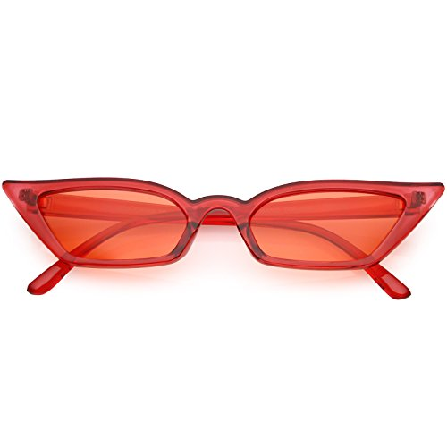 sunglassLA - 90s Small Vintage Cat Eye Sunglasses for Women with Translucent Thin Rectangle Frames (Red/Red) from sunglassLA