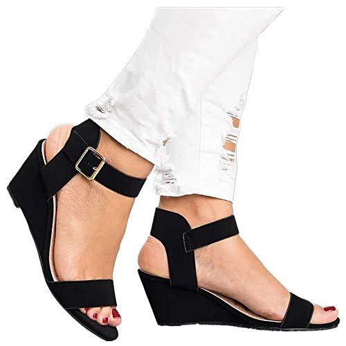 (Women's Summer Ankle Strap Buckle Low Wedge Platform Heel Sandals Fashion Design Pump Shoes (US:7, Black))