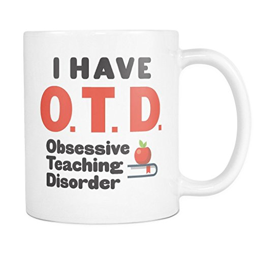 ArtsyMod OTD OBSESSIVE TEACHING DISORDER Premium Coffee Mug, PERFECT FUN GIFT for Teachers, Professors! Attractive Durable White Ceramic Mug (15oz., Black/Red (Holo 2 Costumes)