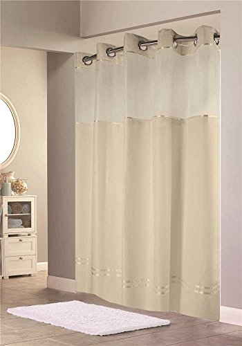 Beige Stripes Snap (HOOKLESS ESCAPE SHOWER CURTAIN, WITH SNAP IN LINER, BEIGE WITH BEIGE STRIPE, 71 IN. X 74 IN.)