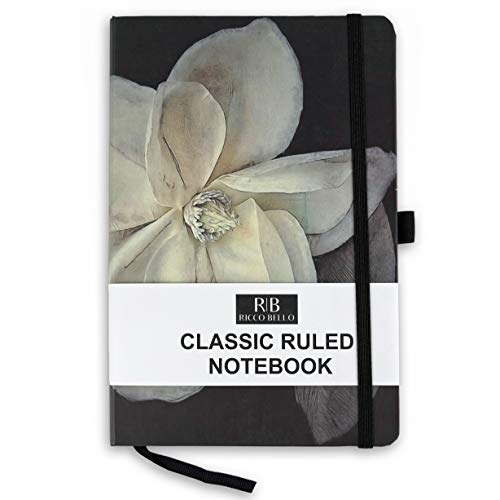 RICCO BELLO Classic Ruled Notebook with Pen Loop / 5.7 x 8.4 inches (Magnolia) -