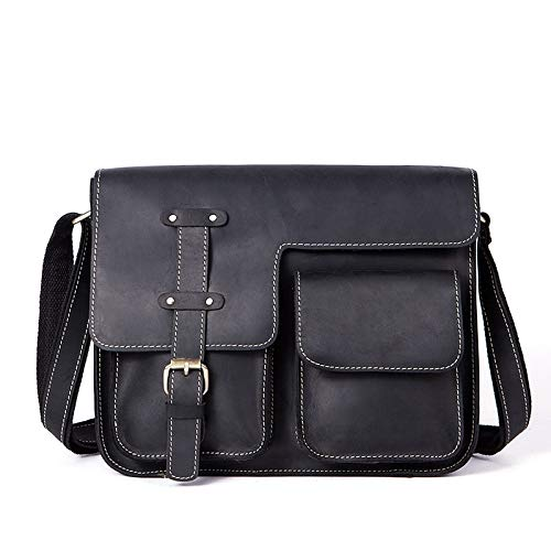 WYang Mens Leather Bag Retro Crazy Horse Leather Cross Section Messenger Bag Color : Black