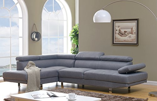 Container Furniture Direct S0135L-2PC Rangel Elegance Upholstered Contemporary Modern Left-Sided Sectional Sofa, 110.2