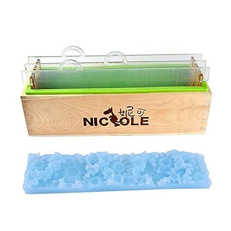 Molde de jabón de silicona rectangular con tablilla de acrílico transparente y tapete de flores para moldes de jabón hechos a mano.