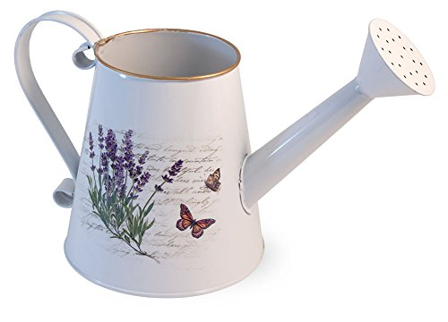 Boston International Lavender Floral Butterfly 10.5 x 5.5 Inch Metal Decorative Watering Can