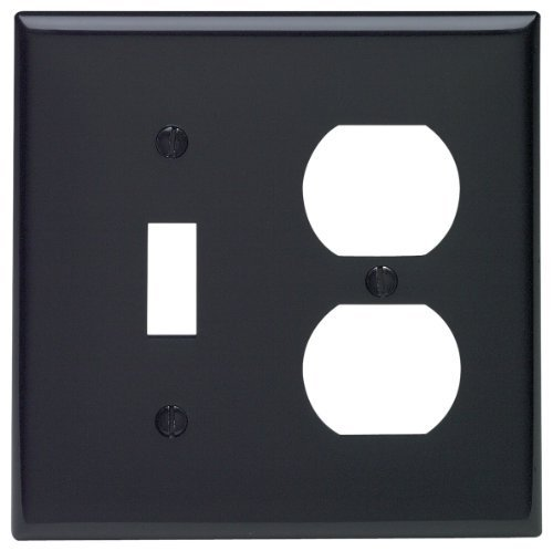 Black Standard Switch - Leviton 80705-E 2-Gang 1-Toggle 1-Duplex Device Combination Wallplate, Standard Size, Thermoplastic Nylon, Device Mount, Black