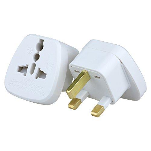 UK Travel Plug Adapter(Type G) for UK, Hong Kong, Malaysia, Singapore, Kenya, Saudi Arabia - Grounded & Universal with Safety Shutter