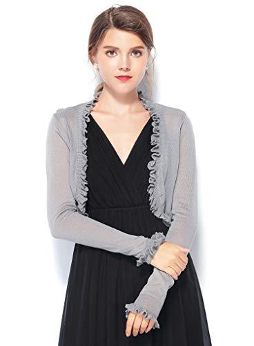Chic Queen Women's Jersey Knit Open Front Ruffle Edge Bolero Shrug Long Sleeve Cardigan (M/GY)