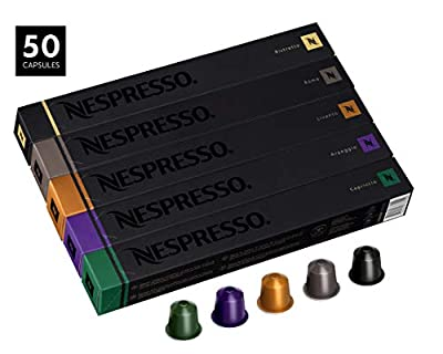 Nespresso Capsules OriginalLine , Best Seller Variety Pack, Medium and Dark Roast Espresso Coffee, 50 Count Coffee Pods, Brews 1.35oz from CAJ International