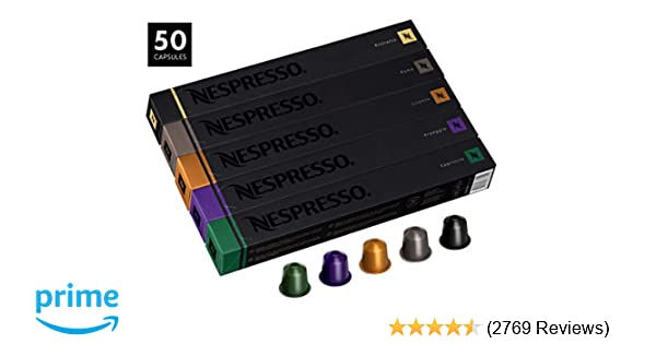 Nespresso OriginalLine Variety Pack Capsules, 50 Count Espresso Pods,  Assorted Dark and Medium