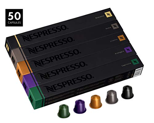 Nespresso OriginalLine Capsules, Variety Pack Assortment, Includes 50 Nespresso Capsules - 10 Roma, 10 Capriccio, 10 Livanto, 10 Arpeggio and 10 Ristretto ()