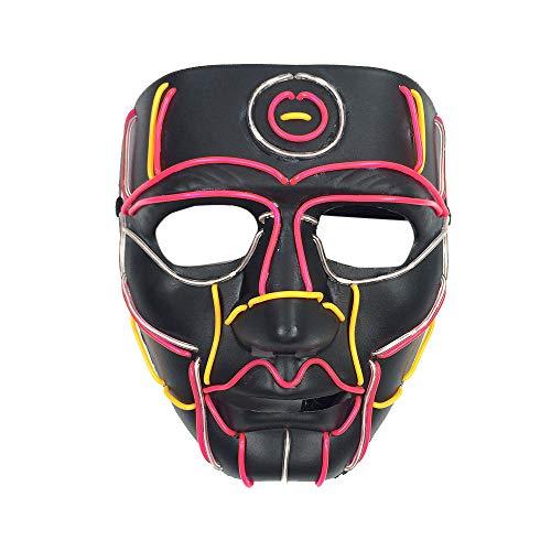 Kasien Halloween Skeleton Mask LED Masks Glow Scary Mask Light Up Cosplay Mask (Skull)
