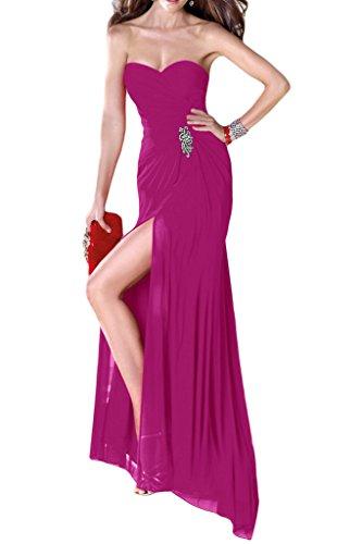 Damen Lang Ivydressing Herz Festkleid Ausschnitt Schlitz Fuchsie Abendkleider Chiffon 1zwdn7qw