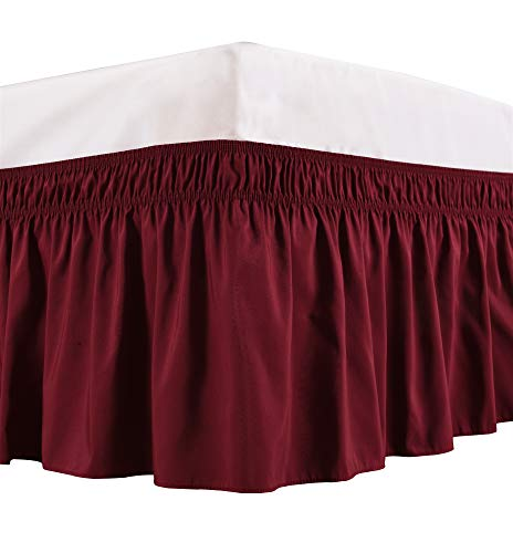 Biscaynebay Wrap Around Bed Skirt, Elastic Dust Ruffles, Easy Fit Wrinkle and Fade Resistant Solid Color Hotel Quality Fabric, Queen, 15