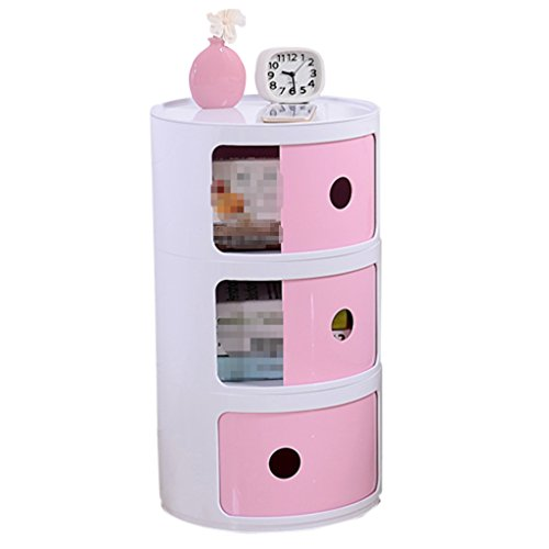 Simple bedside cabinet circular lockers plastic storage rack drawer (Color : Pink)