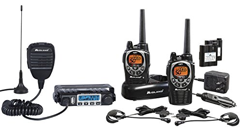 Midland - MXT115 & GXT1000 Bundle - MicroMobile Two-Way Radio w/External Magnetic Mount Antenna & GXT1000 Two-Way Radio - Up to 36 Mile Range Water Resistant Walkie Talkies (Pair Pack)(Black/Silver)