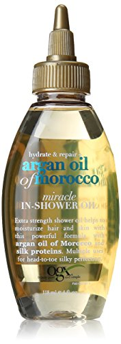 OGX Hydrate and Repair + Argan Oil of Morocco Miracle In-Shower Oil, 4 Ounce Bottle  Sulfate-Free Surfactants  Hair and Body Moisturizer Oil