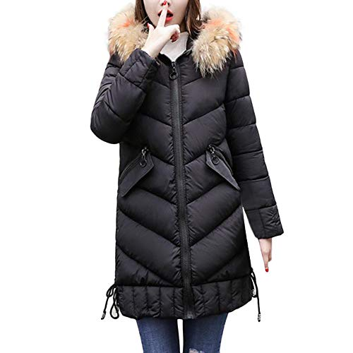 Orangeskycn Womens Winter Thick Coats with Fur Hood Long Down Parka Puffer Jacket Black (Cream Silk Blazer)