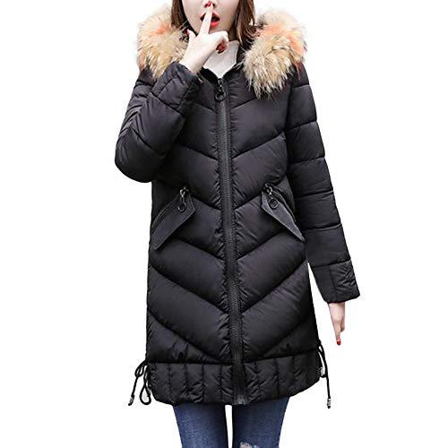 Orangeskycn Womens Winter Thick Coats with Fur Hood Long Down Parka Puffer Jacket Black (Silk Cream Blazer)