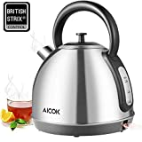 AICOK Classical Electric Kettle, Retro Dome Tea Kettle, Brushed Stainless Steel Fast Boiler, Cordless Jug Kettle, Auto Off and Boil Dry Protection, 1.5L