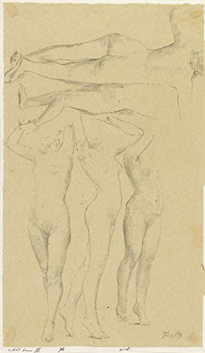 """Classic Art Poster - Five nude studies; three with arms raised, the other seen from the back, Henri Fantin-Latour, 1846 - 1904 14"""" x 24"""""""