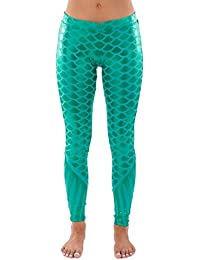 Women's Mermaid Leggings - Mermaid Halloween Costume Tights Female
