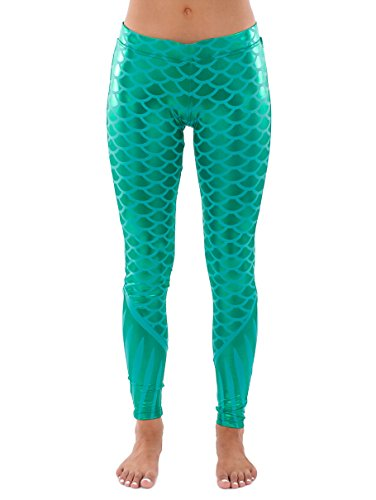 Women's Mermaid Leggings - Mermaid Halloween Costume Tights: X-Large Green