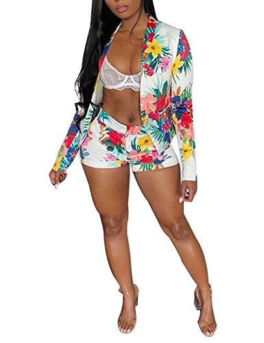 Women Floral Print Casual Two Pieces Suit Set Long Sleeve Blazer Shorts Outfit Medium (Jacket Club 2)