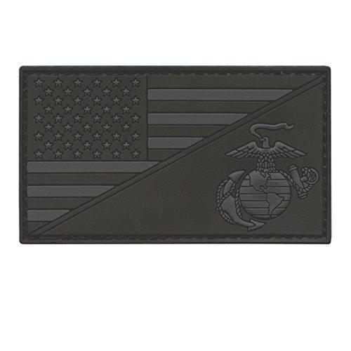 LEGEEON US Marines All Black USMC USA American Flag Semper Fidelis ACU Dark Subdued Morale PVC Rubber Hook-and-Loop