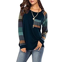Blouses For Womens Foruu Clover Ladies Sales 2019 Under 10 Best Gift For Girlfriend Stripe Sleeve Patchwork Casual Top T Shirt Loose Long Sleeve Top