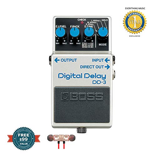 Dd3 Delay Pedal - Boss DD-3 Digital Delay Pedal includes Free Wireless Earbuds - Stereo Bluetooth In-ear and 1 Year Everything Music Extended Warranty