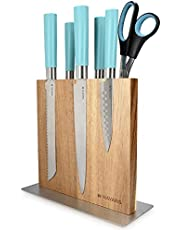 Navaris Wood Magnetic Knife Block - Double Sided Wooden Magnet Holder Board Stand for Kitchen Knives, Scissors, Metal Utensils - Acacia, 8.9 x 8.7 in