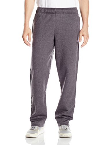 Champion Men's Powerblend Open Bottom Fleece Pant, Granite Heather, XL
