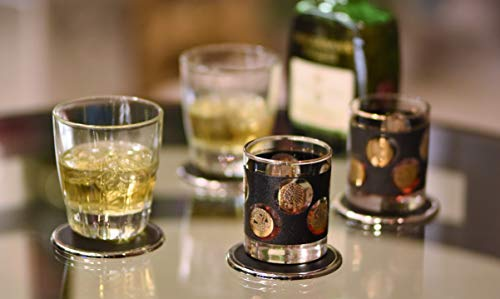 YouShop Luxury Coasters for Drinks - Premium Metal, Black Leather, Velvet Base | Contemporary & Clean Style, Modern Coaster Set for Home Decor, Living Room, Kitchen | Protect Furniture by YouShop (Image #5)