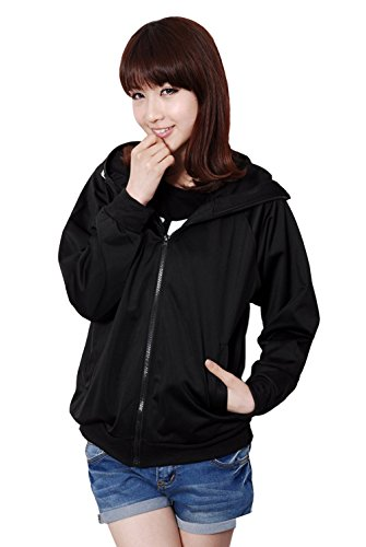 E-Mell Unisex Cosplay Miku Gumi Luka Rin Eye Pattern Zippered Hoodie,2XL(Bust -