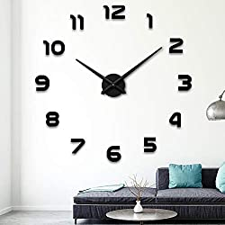Aililife 3D DIY Wall Clock Acrylic Mirror Surface Mirror Frameless Large DIY Wall Clock Kit for Home Living Room Bedroom Office Decoration (Black-3)